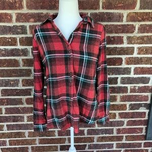 Juniors Faded Plaid And Lace Top Large